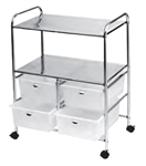Pibbs D4W Work Cart with 4 White Storage Drawers